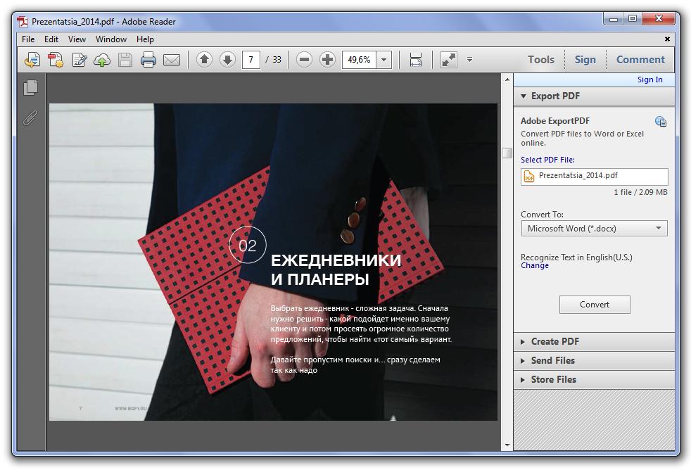 Интерфейс программы Adobe Reader
